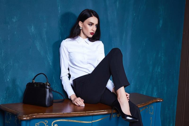 Brunette Model Shirt Pants Bag Heels