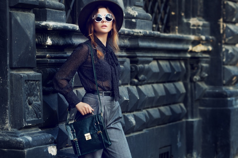 Chic Outfit Model Hat Sunglasses Blouse Pants Bag