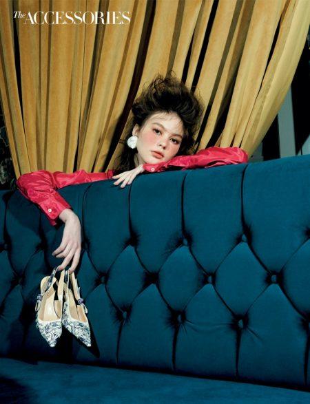 Elena Usova Wears Chic Accessories for Harper's Bazaar Singapore
