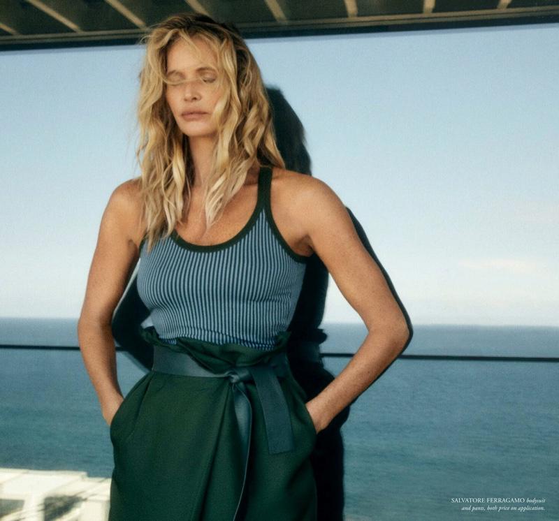 Elle Macpherson Poses in Chic Looks for Harper's Bazaar Australia