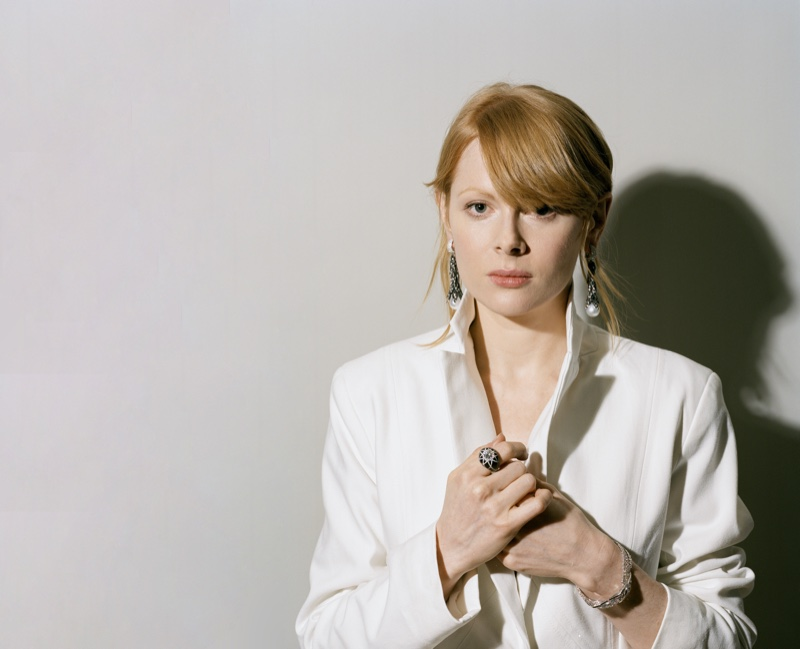 Dressed in white, Emily Beecham exudes pure chic. Photo: Fenton Bailey represented by Tonic Reps for The Fall