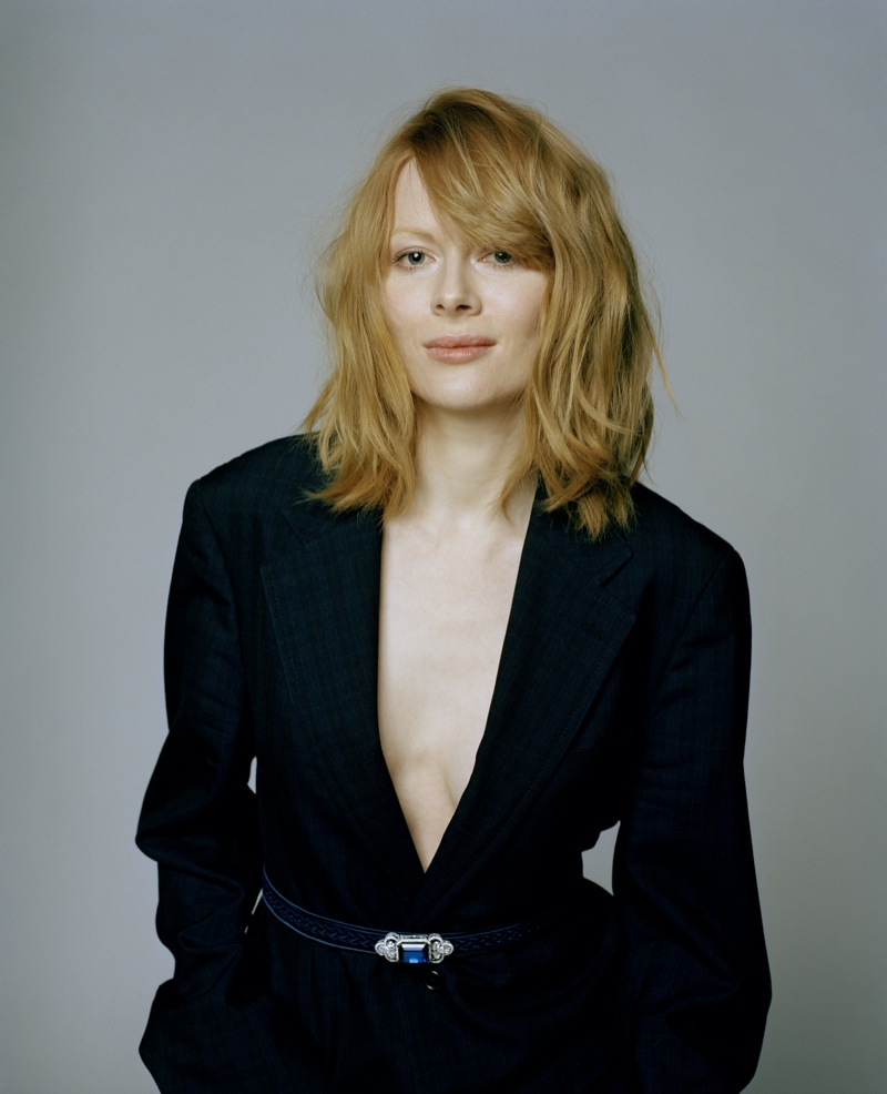 Emily Beecham wears tailored suiting. Photo: Fenton Bailey represented by Tonic Reps for The Fall