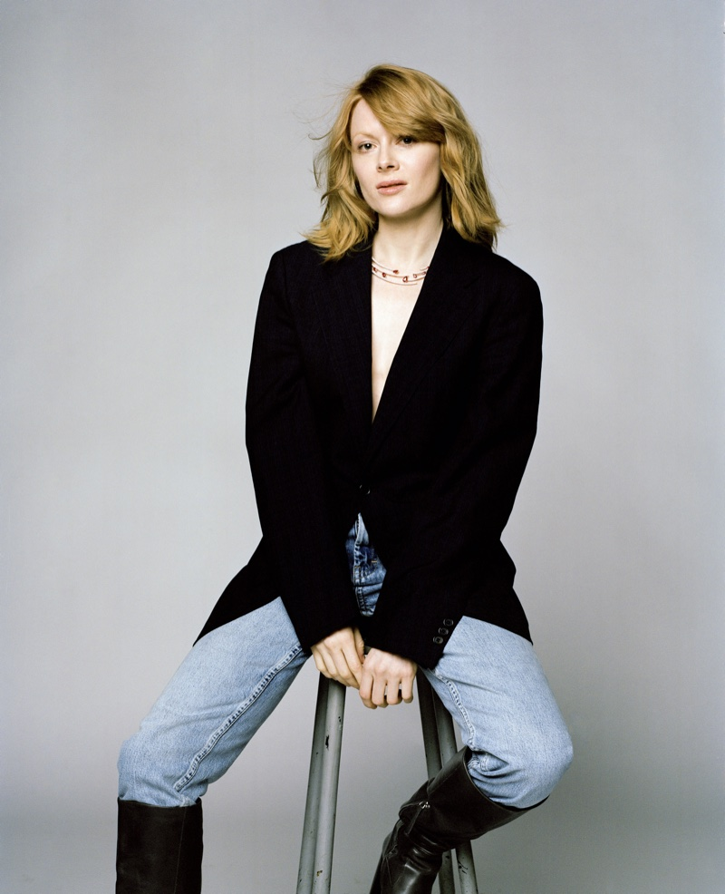 Actress Emily Beecham keeps it casual in blue jeans. Photo: Fenton Bailey represented by Tonic Reps for The Fall