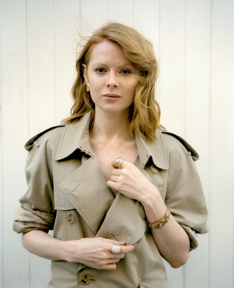 Emily Beecham wears a trench coat. Photo: Fenton Bailey represented by Tonic Reps for The Fall