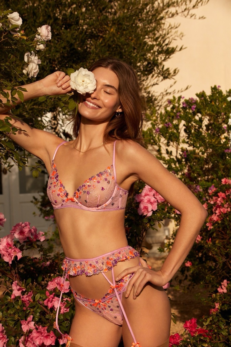 Grace Elizabeth is all smiles in For Love & Lemons x Victoria's Secret summer 2020 campaign