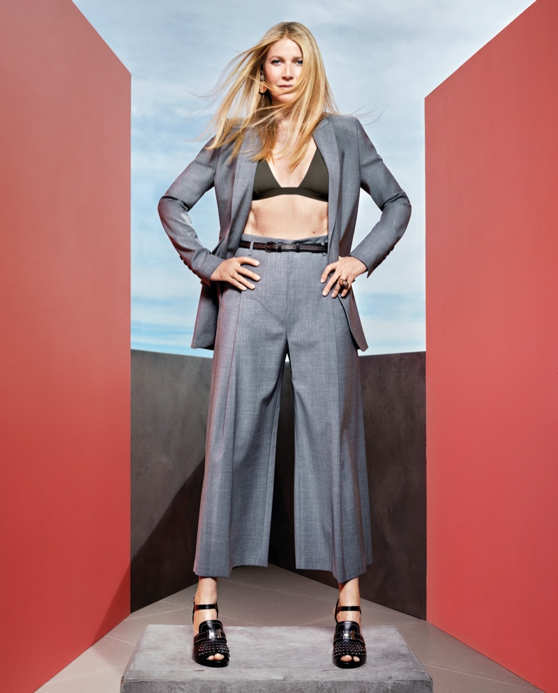 Gwyneth Paltrow poses in G. Label jacket, bikini and culottes with Hermes sandals