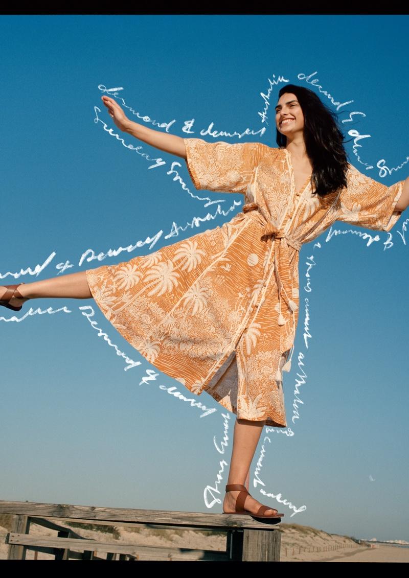 Saffron Vadher poses in H&M x Desmond & Dempsey campaign.