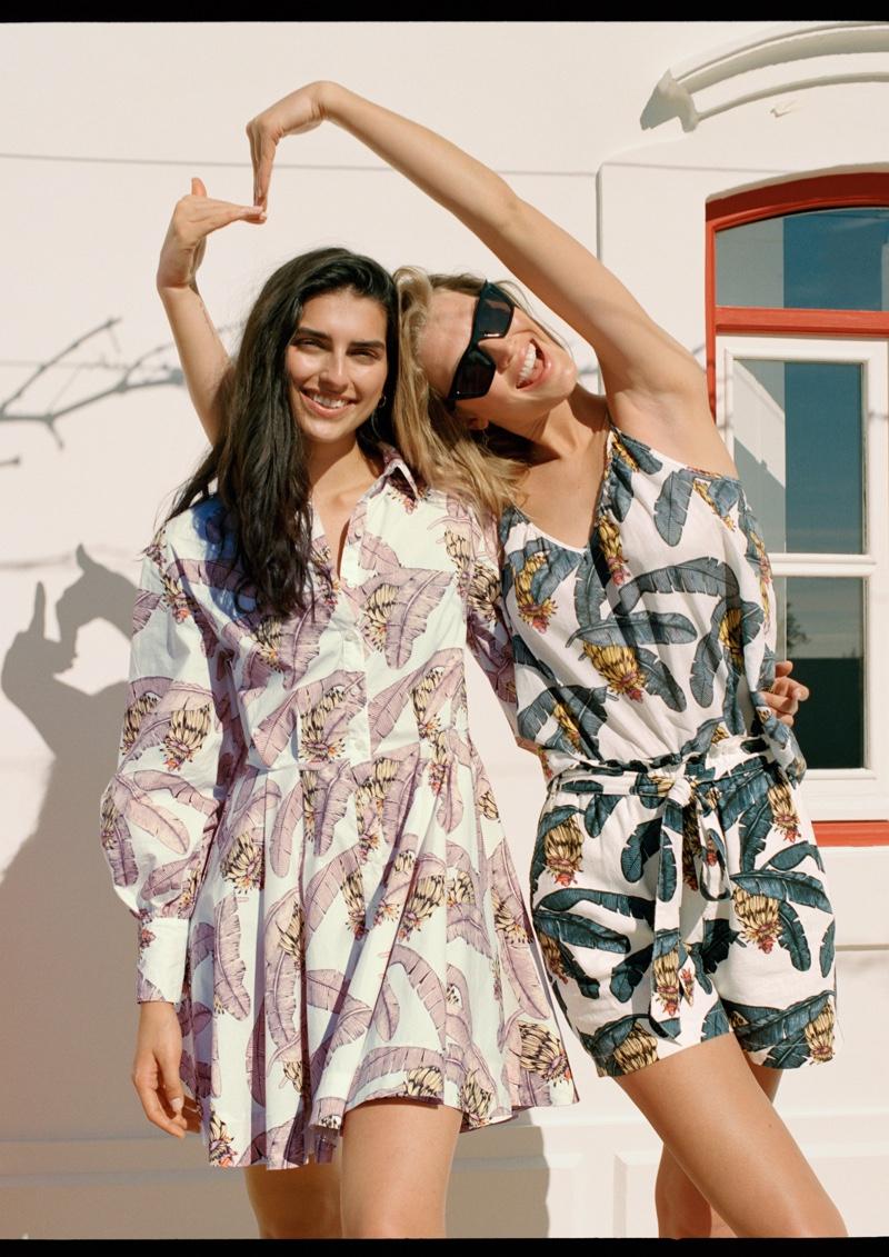 Saffron Vadher and Toni Garrn are all smiles in H&M x Desmond & Dempsey campaign.