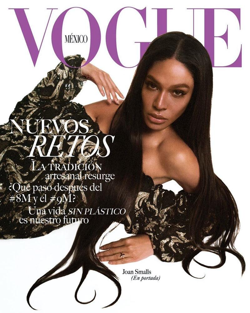 Joan Smalls Strikes a Pose in Glam Looks for Vogue Mexico
