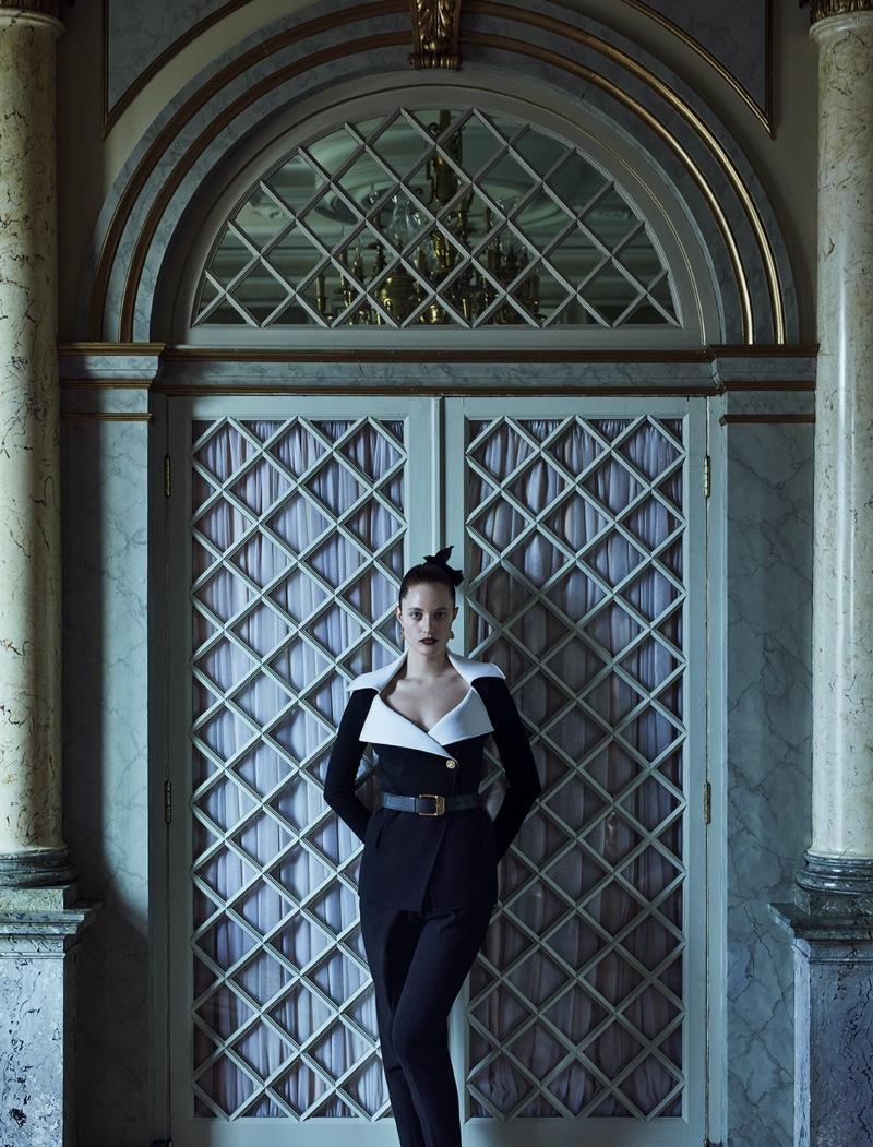 Julia Banas Poses in All-Black Looks for Harper's Bazaar Germany