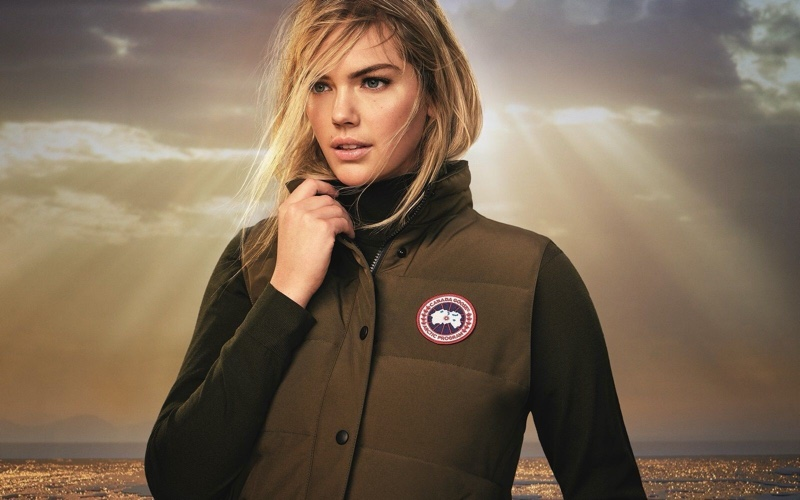 Kate Upton wears a vest in Canada Goose spring-summer 2020 campaign.