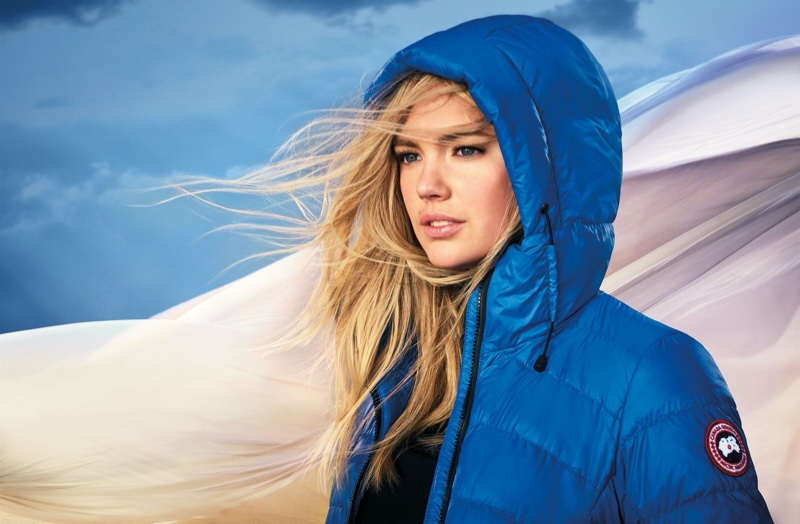 Kate Upton poses in Canada Goose Polar Bears International collection.
