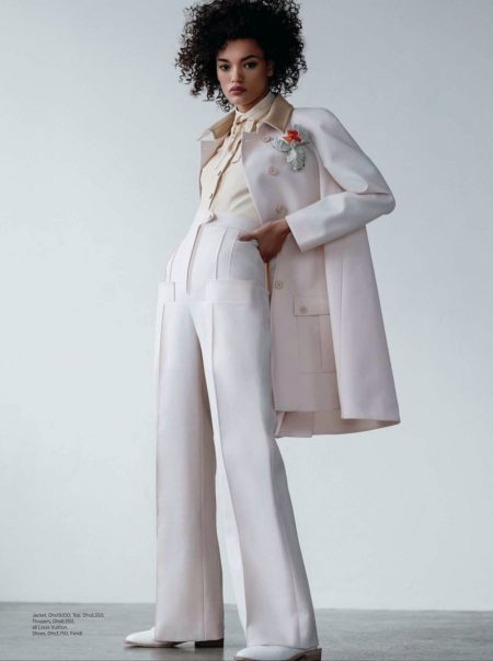 Lameka Fox Models Modern Power Dressing in Harper's Bazaar Arabia