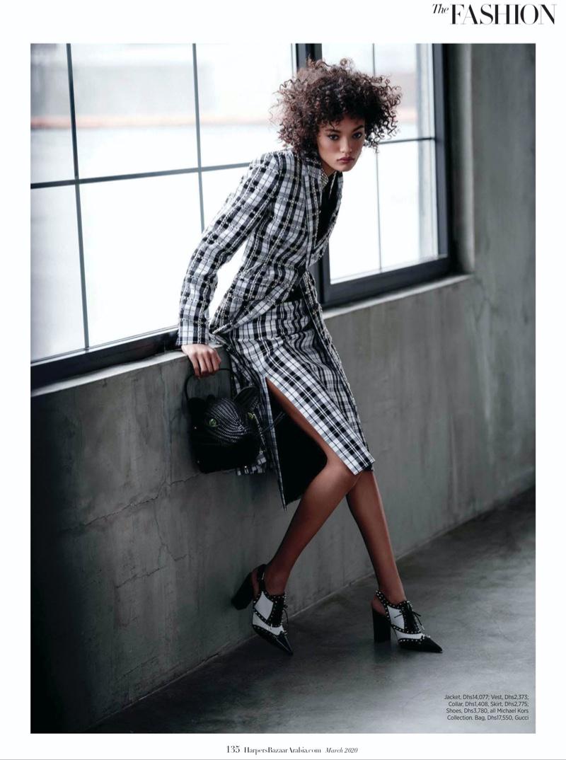 Lameka Fox Models Modern Power Dressing in Harper's Bazaar Arabia
