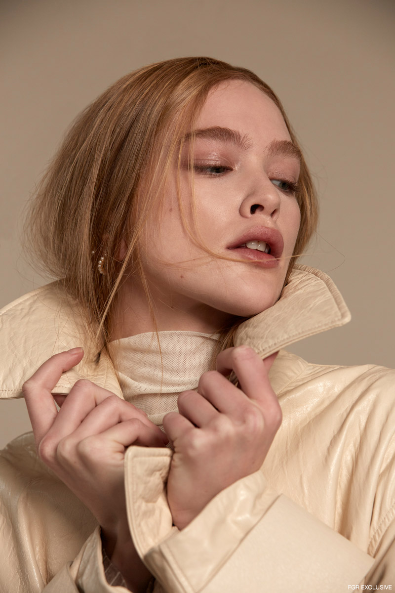 Double Layer Ivory Mesh Turtleneck LULU'S and Cream Leather Trench DROME. Photo: Adrianna Favero