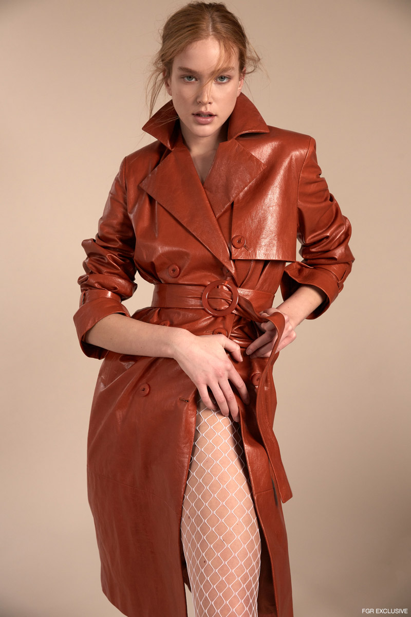 Patent Leather Trench DROME and Fishnet Tights Stylist's Own.  Photo: Adrianna Favero