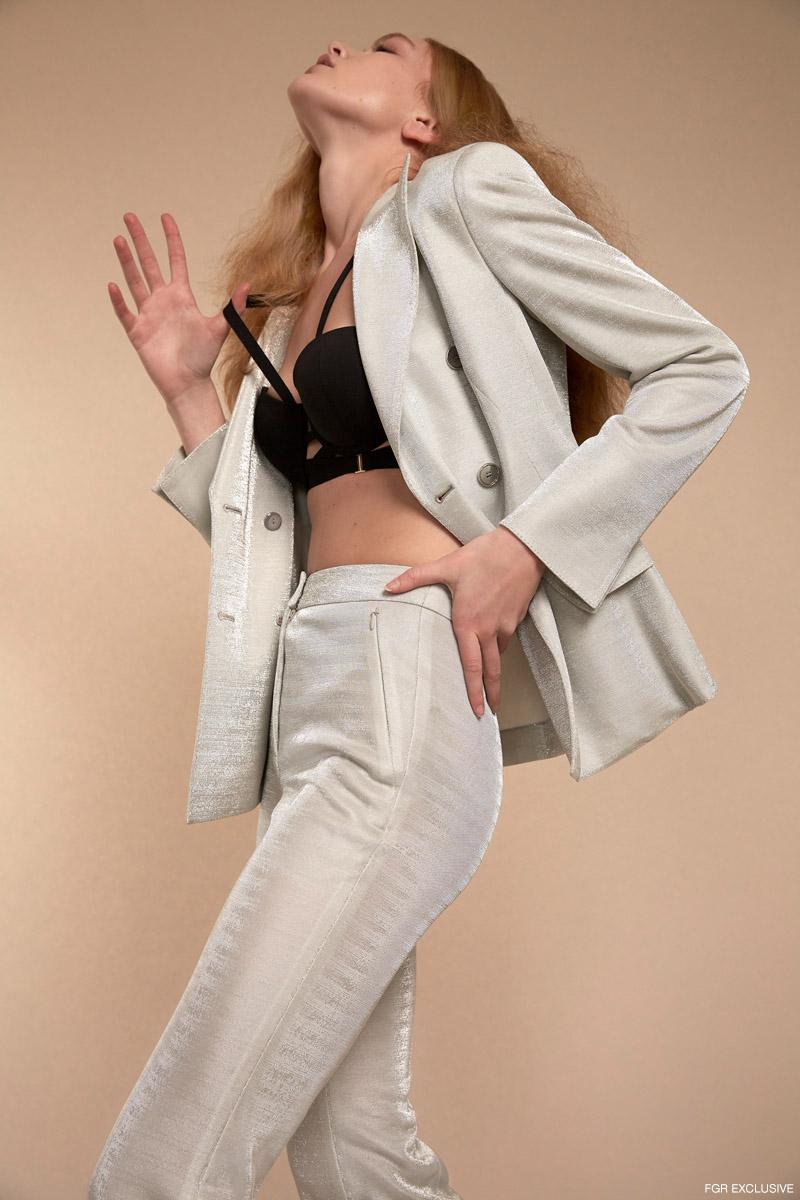 Gloriana Double Breasted Lurex Jacket and Farida Lurex Pants AKRIS and Rhodes Bra BLUEBELLA. Photo: Adrianna Favero