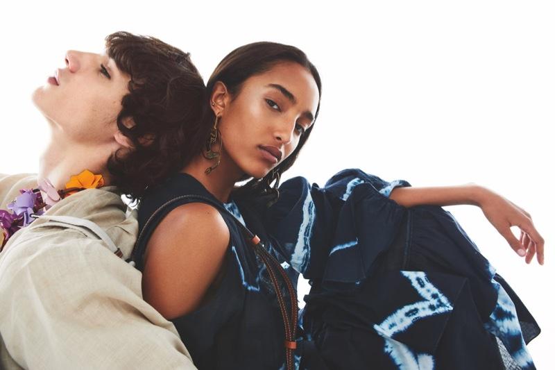 Models Mona Tougaard and Fernando Lindez pose for Loewe Paula's Ibiza fragrance shoot.