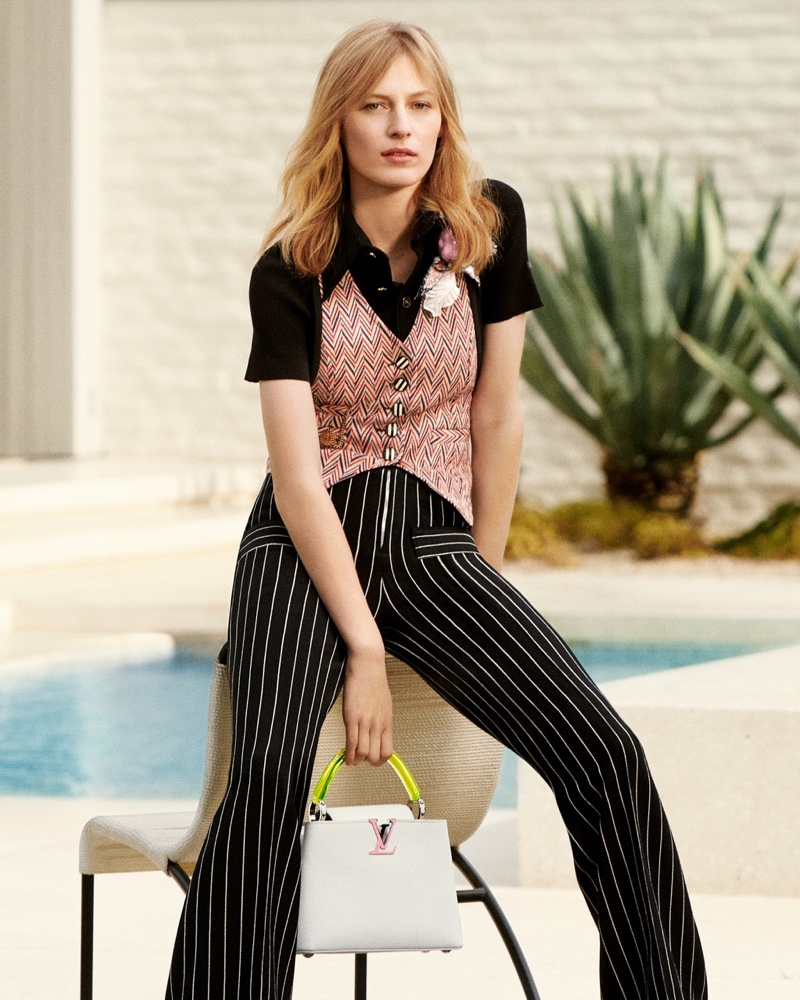 Model Julia Nobis fronts Louis Vuitton Capucines handbag summer 2020 campaign