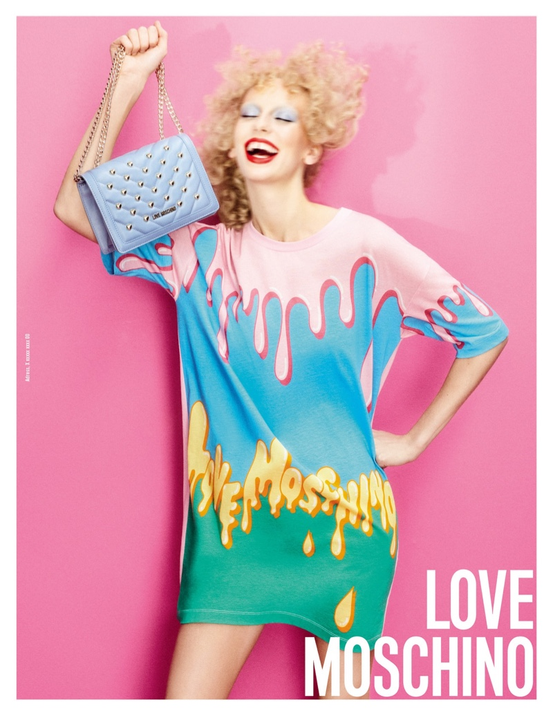 Lili Sumner is all smiles in Love Moschino spring-summer 2020 campaign.