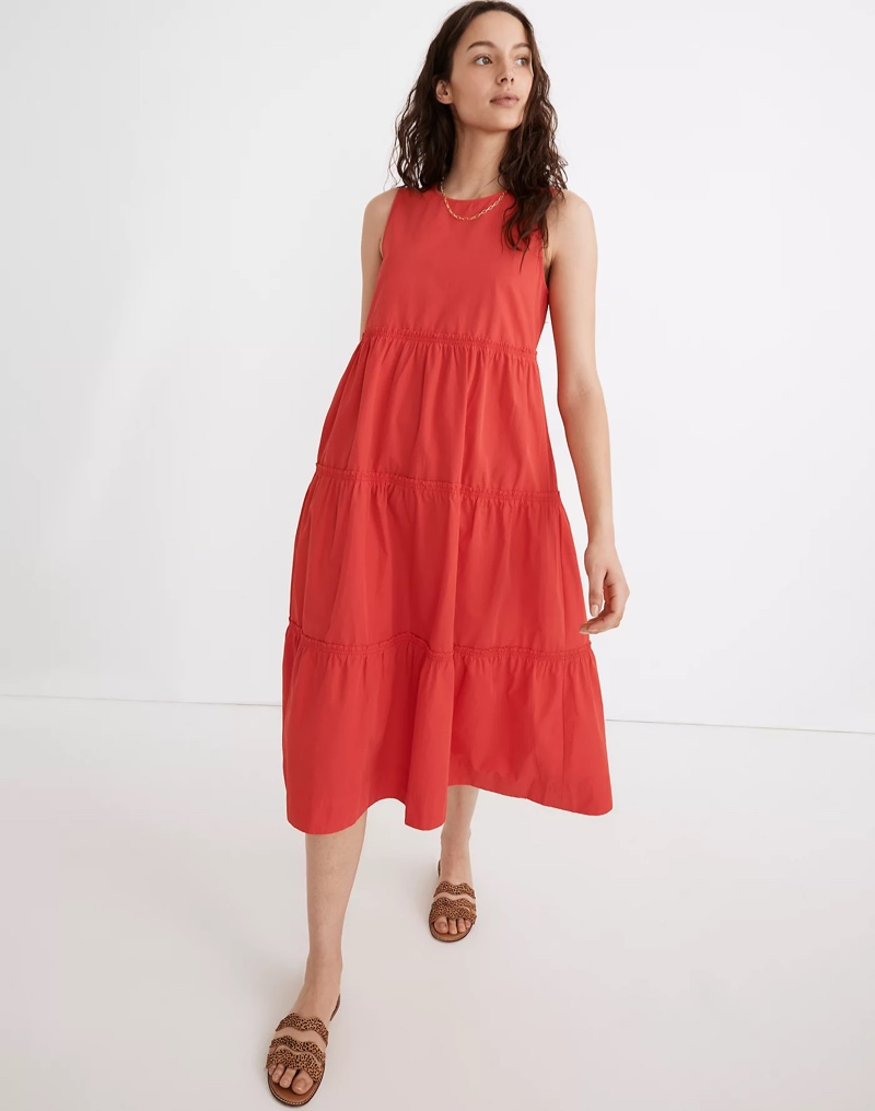 Madewell Cattail Tiered Dress in Heirloom Rose $128