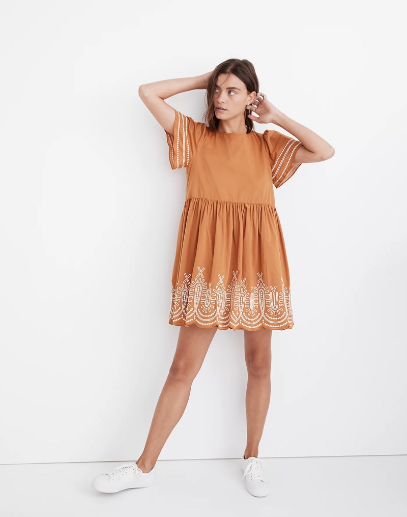 Madewell Embroidered Eyelet Puff-Sleeve Mini Dress in Fresh Cider $138