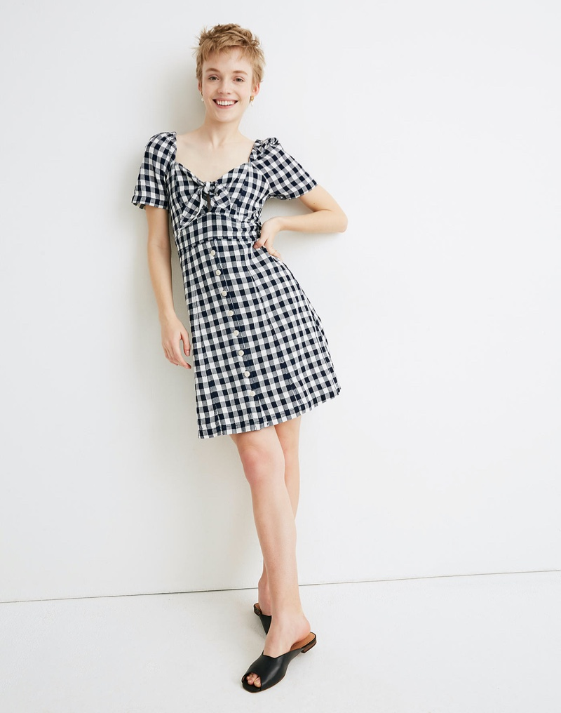Madewell Gingham Tie-Front Swing Dress $89.50