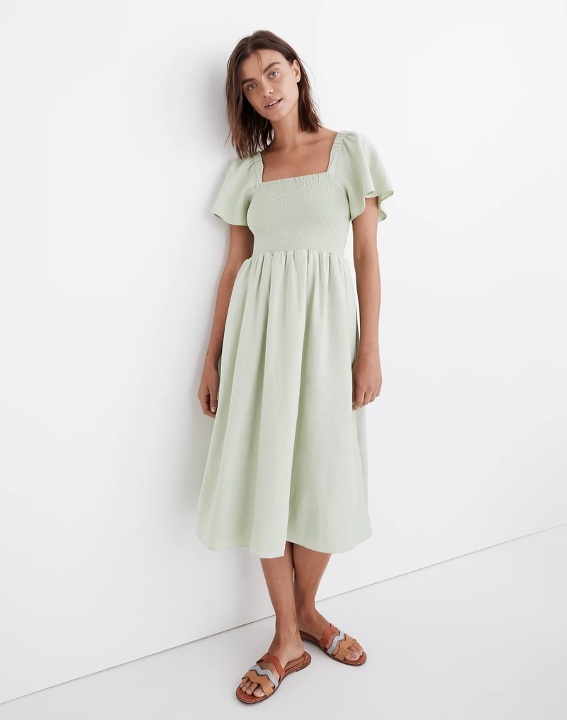 Madewell Linen-Blend Lucie Smocked Midi Dress in Sunfaded Mint $118