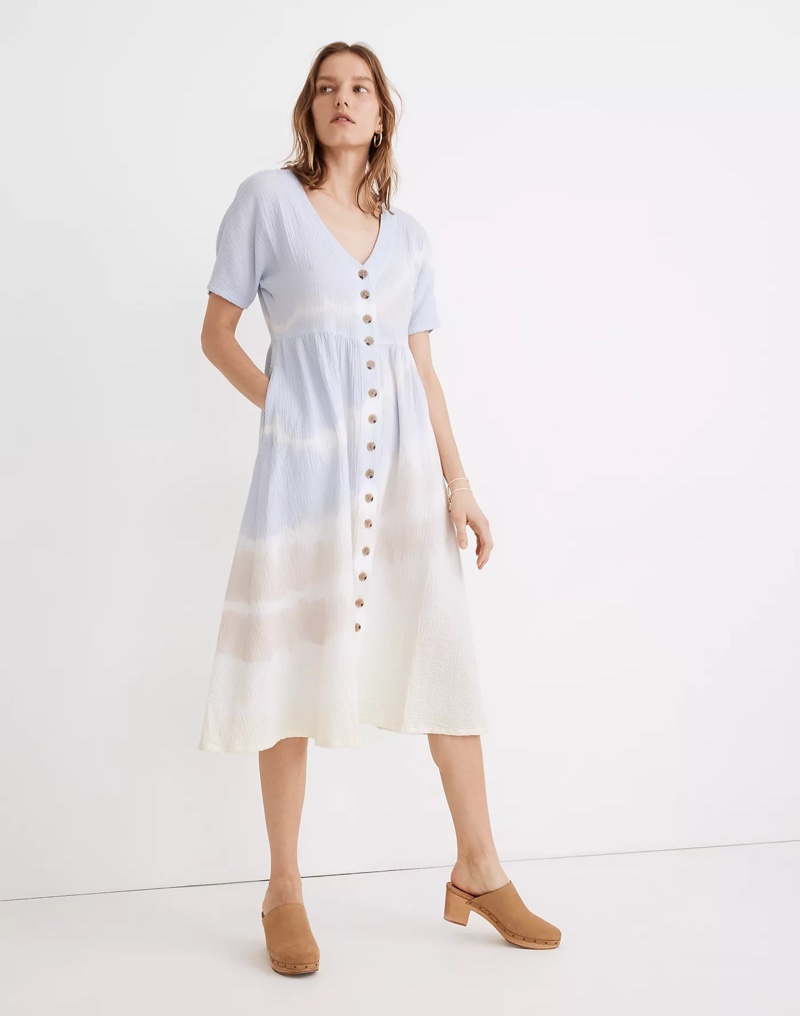 Madewell Tie-Dye Lightspun Button-Front Midi Dress $128