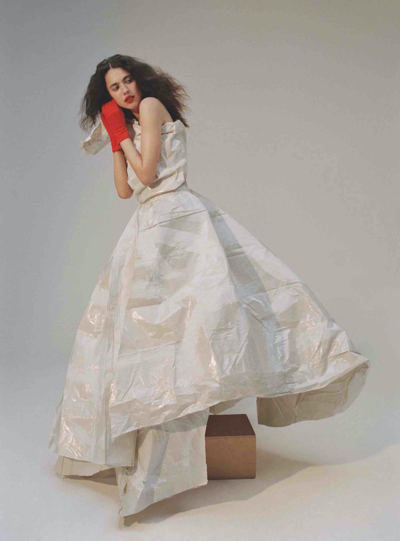 Margaret Qualley wears white gown made from sustainable material. Photo: Daria Kobayashi Ritch for Hunger Magazine
