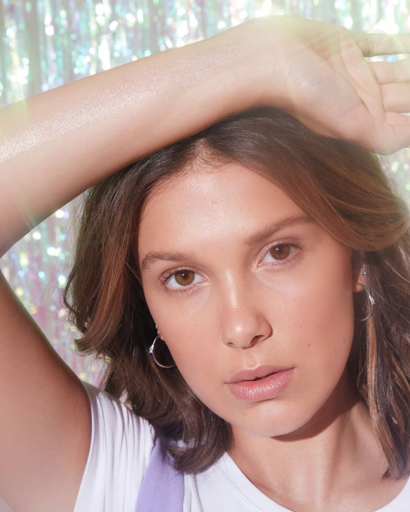 Ready for her closeup, Millie Bobby Brown poses for Florence by Mills Highlight You campaign.