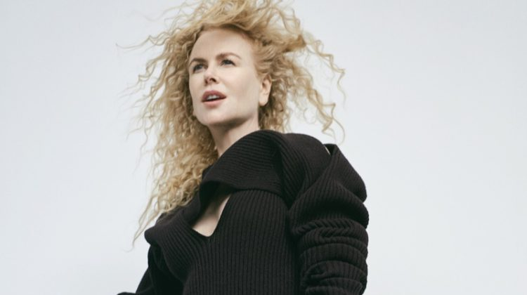 Nicole Kidman strikes a pose in an all black outfit.