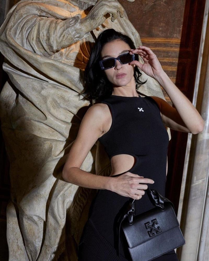 Mariacarla Boscono strikes a pose in Off-White accessories spring-summer 2020 campaign.