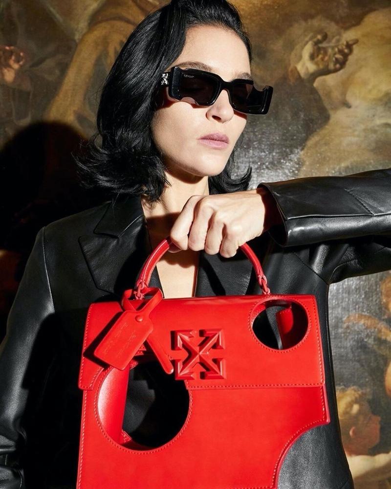 Model Mariacarla Boscono fronts Off-White accessories spring-summer 2020 campaign.