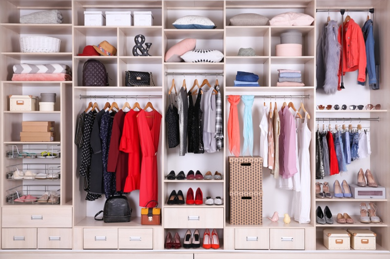 Organized Clean Closet Shelves Shoes Folded Clothes