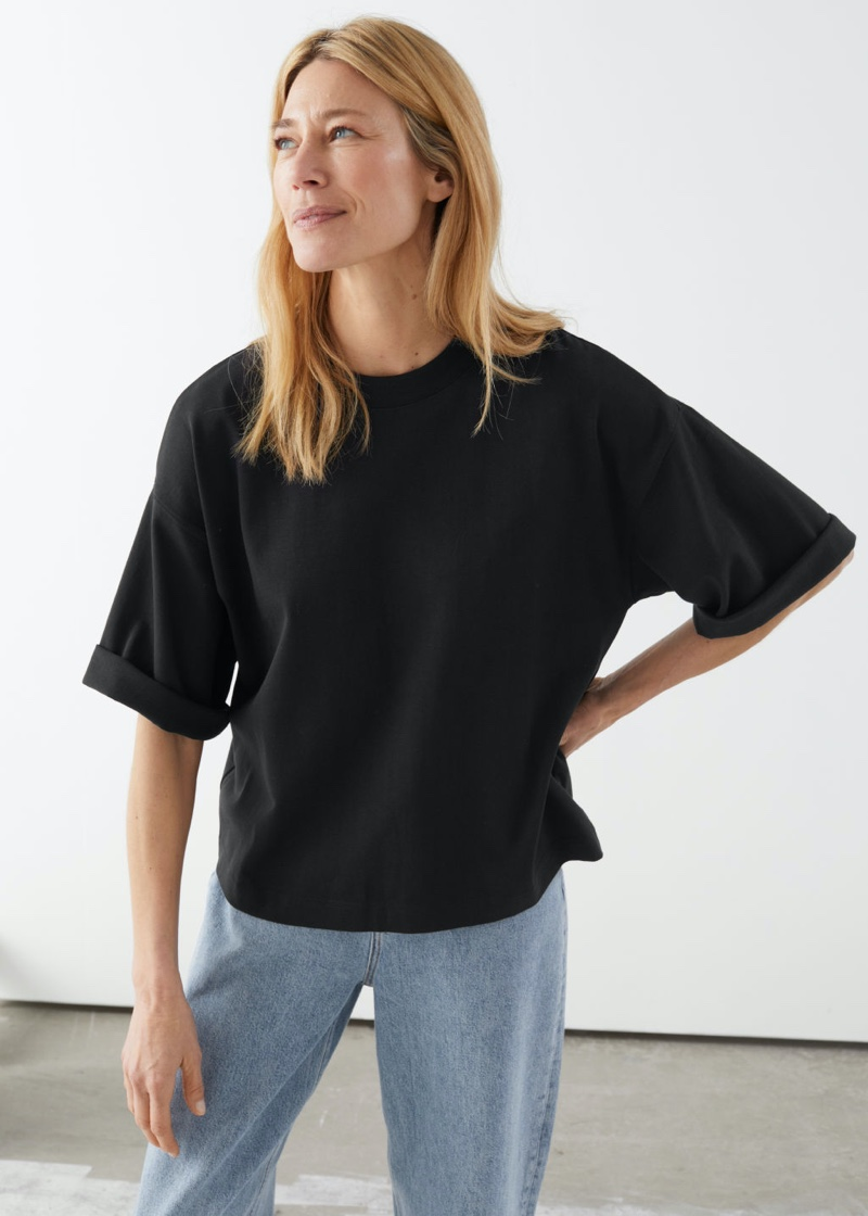 & Other Stories Boxy Crewneck T-Shirt in Black $39