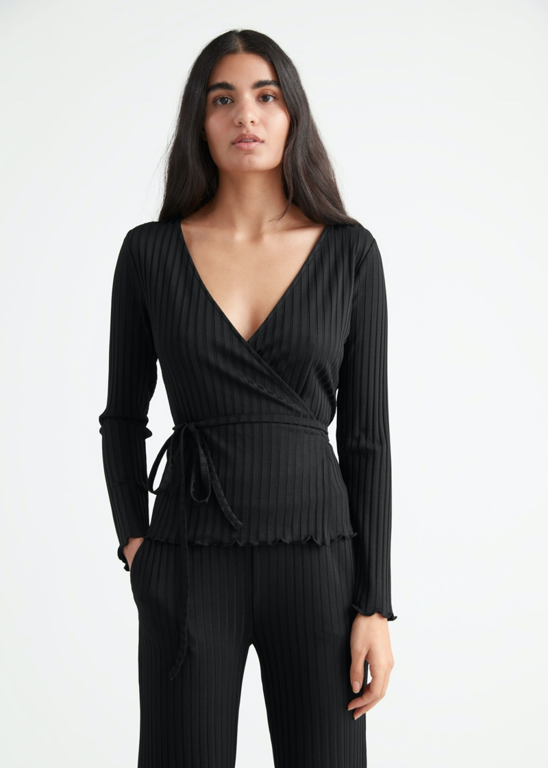 & Other Stories Fitted Robbed Wrap Top $59