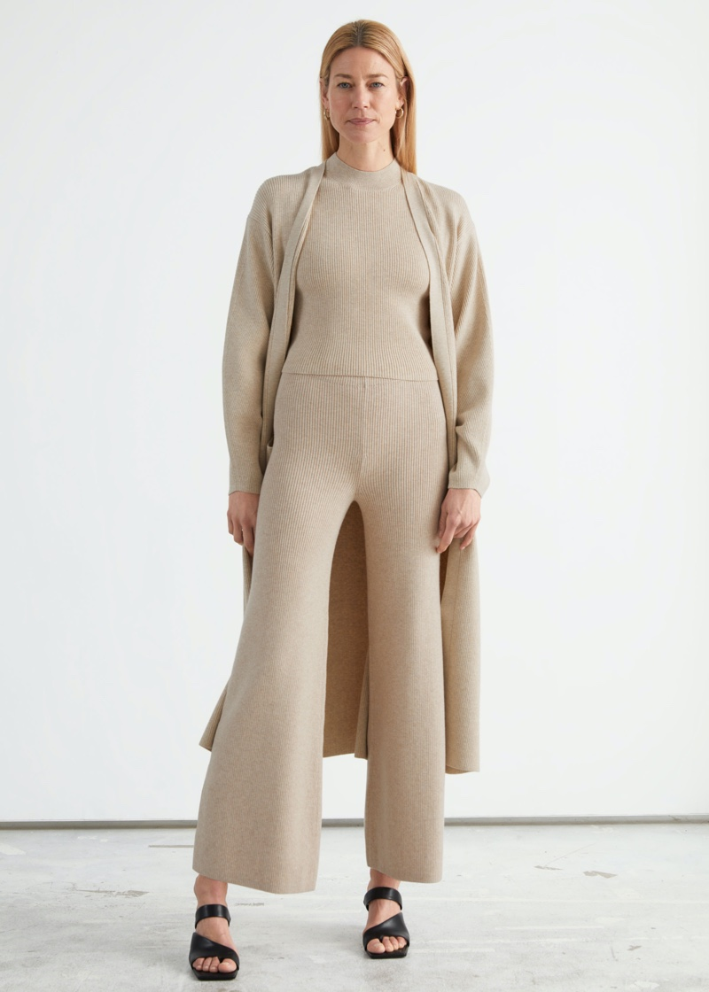 & Other Stories Flared Wool Blend Trousers $99