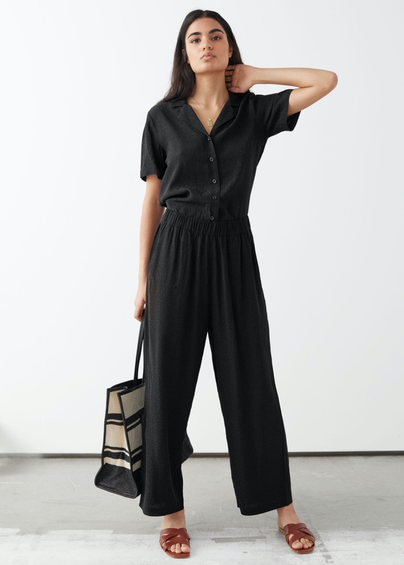 & Other Stories Jacquard Dot Print Trousers in Black $69