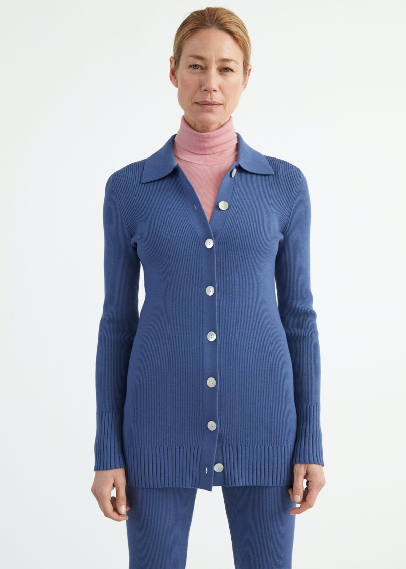 & Other Stories Long Fitted Rib Knit Cardigan in Blue $89