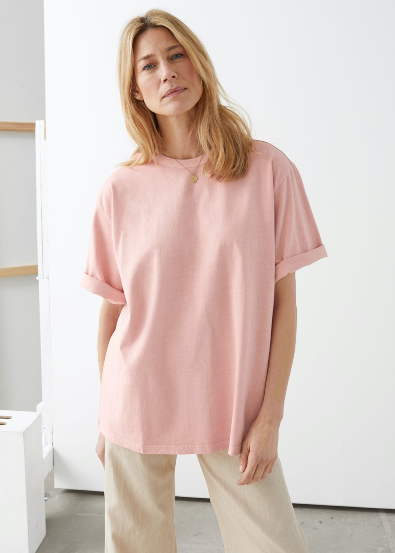 & Other Stories Oversized Organic Cotton T-Shirt in Pink $39