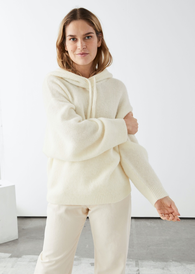 & Other Stories Ribbed Wool Blended Hooded Sweatshirt in White $99