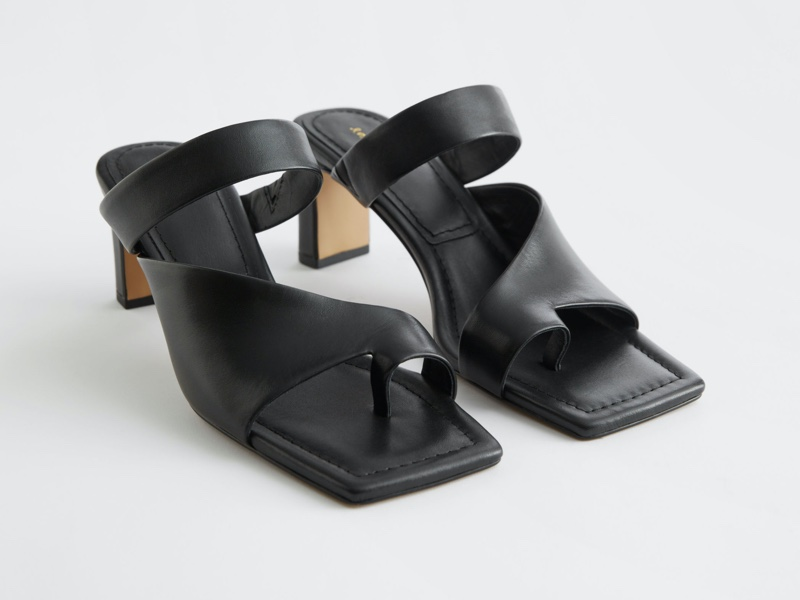 & Other Stories Square Toe Heeled Leather Sandals $129