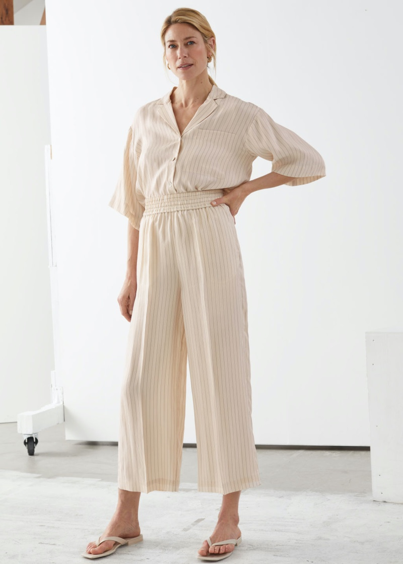 & Other Stories Wide Leg Cupro Blend Cropped Trousers in Beige $89