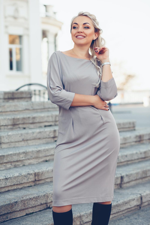 Plus Size Model Gray Dress