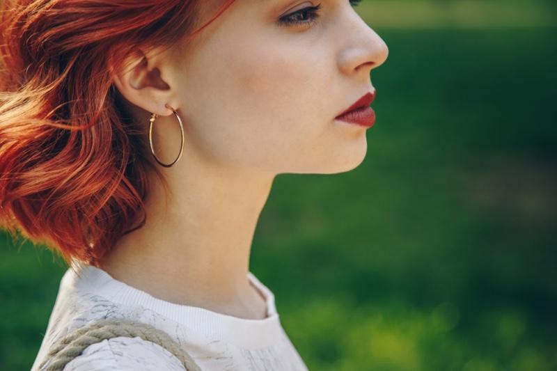 Redhead Closeup Gold Hoop Earrings