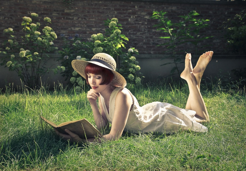 Redhead Model Reading Book Outdoors Grass White Dress Hat