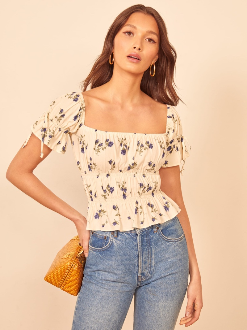 Reformation Solis Top in Nightingale $128