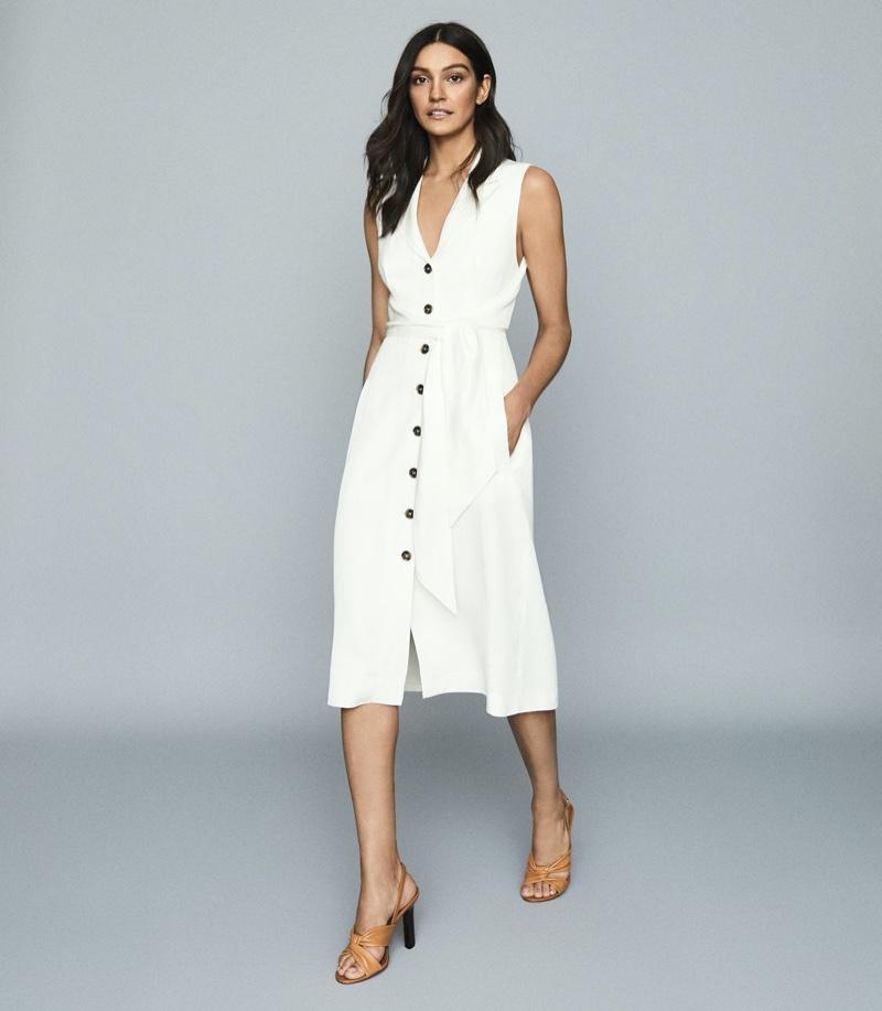 Reiss Rosalind Linen Blend Belted Midi Dress $330