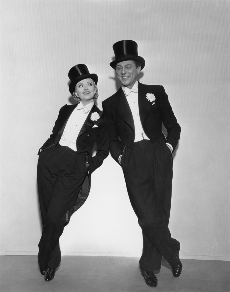 Retro Man Woman Wearing Tuxedo Top Hats
